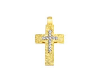 Gold cross in K14 with stones