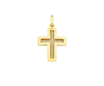 Gold cross in 14Κ with stones