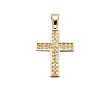 Gold cross with stones in 14K