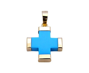 Gold cross with tutqoise paste in 14K