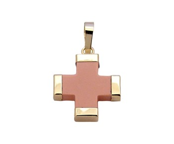 Gold cross with pink paste in 14k