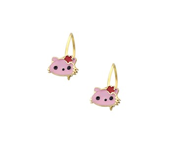 Gold children earrings with smalto in 14K