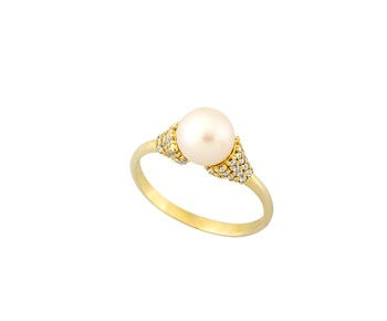 Gold ring with stones and smalto 14K