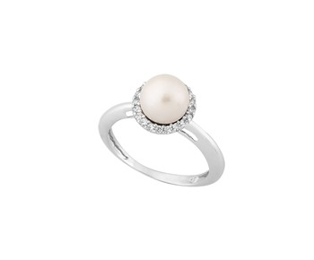 Gold ring with stones and pearl 14K