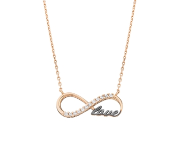 Gold fashion necklace in 14K infinite love