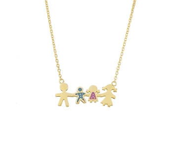 Gold fancy necklace family in 14K