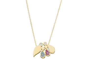 Gold fashion necklace in 14K family with gems