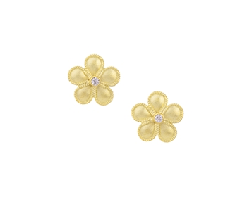 Gold handmade fashion earrings in 14K daisy with gem