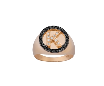 Gold initial ring in 14K with gemstones