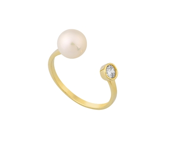 Gold ring in 14K with pearl and gem