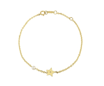 Gold fashion bracelet in 14K star with gem and pearl