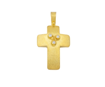 Gold handmade cross in 14K with gems
