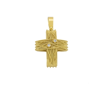 Gold handmade cross with gems in 14K