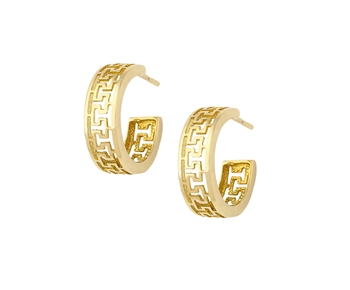 Gold greek ornament earrings in 14K