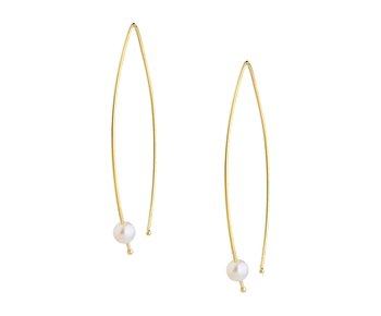 Gold fashion earrings with pearls in 14K