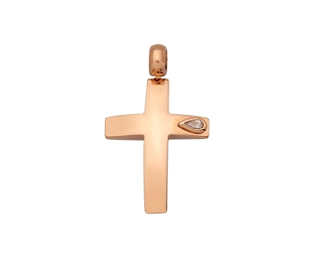Gold cross in 14K with a gem