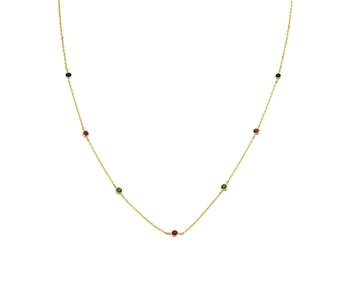 Gold fashion necklace with coloured gems in 14K